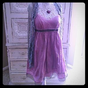 Darling pink with sheer ribbon strap dress NWOT